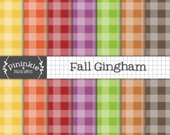Fall Gingham Digital Paper, Fall Digital Paper, Instant Download, Commercial Use, Thanksgiving Digital Paper Pack, Scrapbook Paper, CU