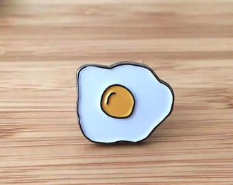 Egg Enamel Pin (fried egg, sunny side up, easter gift, easter egg pin, cooking pin, bacon and eggs, breakfast pin, jacket accessory)