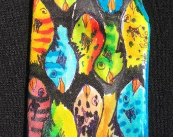 Handpainted Silk Eye Glass Case with Funky Fish Design