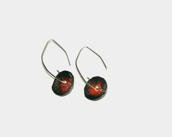 Red long earrings Copper enamel earrings Poppy dangle earrings Red enamel earrings Flower red  earrings Long dangle earrings Gift for her