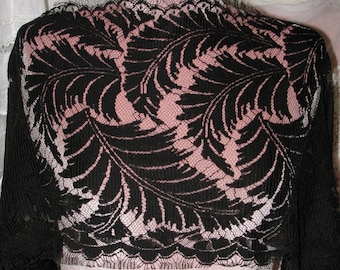 """No. 300 . . . Bridal French Black Wool Faced Lace; 4 Yards and 28"""" x 13"""" Wide"""