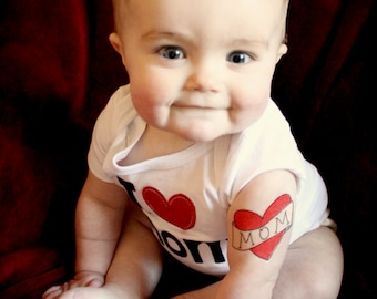 mom tattoo for babies toddler photoshoot prop mom heart temporary tattoo kids fake tattoos red heart tattoo funny valentine gift for mom