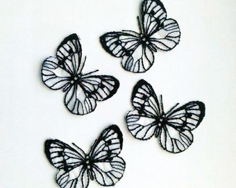 Moks110(p) set of 4 pieces cabbage butterfly Embroidered Patch