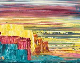 Colour canyon 40 x 40 cm desert landscape bright bold colourful original painting wall art canvas abstract unique