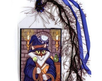Wizard Cat Bookmark Merlin Magician Cat Bookmarker Magic Cat Sorcerer Cat Fantasy Cat Art Mini Bookmark Cat Lovers Gift