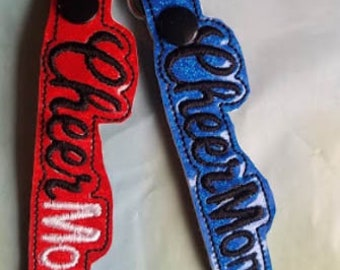Cheermom tag for backpack, purse, gym bag, team colors, cheerleader