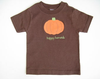 Pumpkin T Shirt, Thanksgiving Tee or Top Hand Painted for Baby and Toddler, Short Sleeve