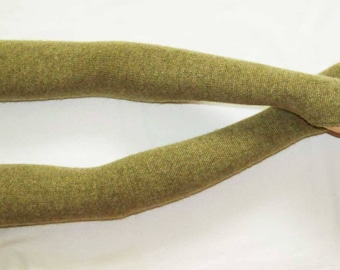 Winter,Cashmere,Olive melange,Khaki,Upcycled,Very Long,Soft and Warm Fingerless Gloves, Arm Warmers,with Thumb Holes, IDEAL for HER