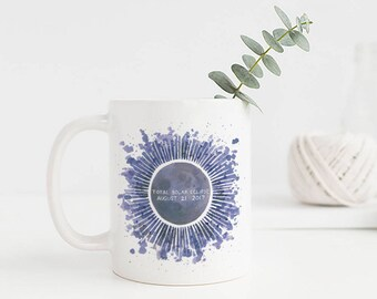 Total Solar Eclipse Mug / Ceramic Mug / Watercolor / Solar Eclipse 2017 / Solar Eclipse Gifts / Gifts for Her / Solar Eclipse Mug / Moon Mug