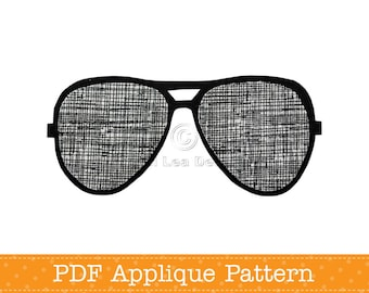 Sunglasses Applique Template, PDF Applique Pattern, Aviators, Instant Download Digital Pattern
