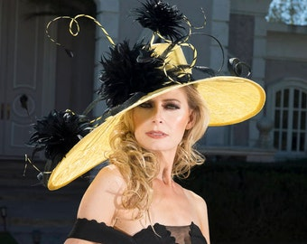 2018 collection. Kentucky Derby hat. Derby hat. Yellow hat. Black hat. Couture hat. Designer hat. Royal Ascot hat. Wedding