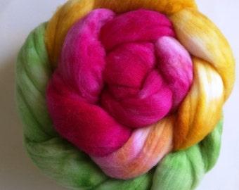 Tropical Handpainted New Zealand wool Spinning Fiber