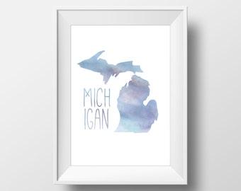 Michigan State Blue Watercolor Printable Art, Michigan State Print, Michigan Art, Modern Art,
