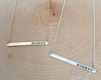 """Silver or Gold """"momma"""" Bar Necklace // Cable Chain"""