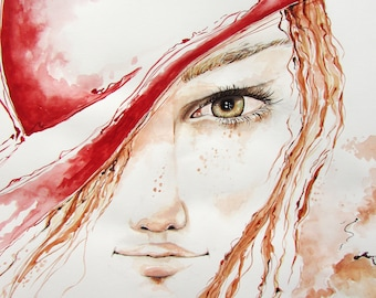 Colourful Watercolor Poster with Woman in Red theme on paper,Love Gift for wife,husband. Birthday Gift, Hotel Painting