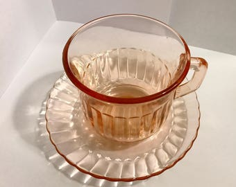 Pink Pressed Glass Cups with Saucers, Set of Four