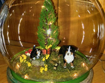 Summer Forest Globe with Bernese Mountain Dog