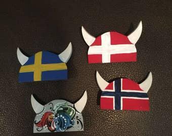 Scandinavian Viking helmet pin or magnet