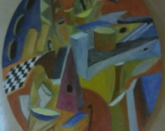 Oval canvas Cubist Composition #2 chess and complex geometric shapes