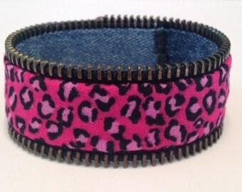 Réversible de Bracelet rose leopard print/denim - fermeture à glissière