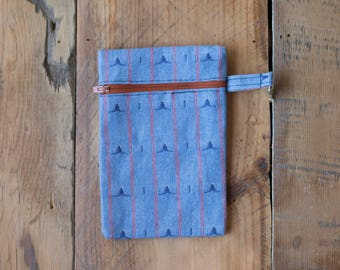 Small Blue Zippered Pouch
