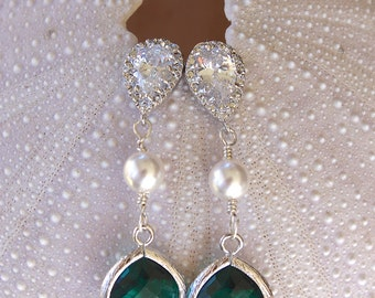 COLORED CRYSTAL BRIDESMAIDS Earrings with a Rhinestone Stud Tear Drop and Pearl, Cubic Zirconia, Bridal Party Earrings, Wedding, Silver/Gold