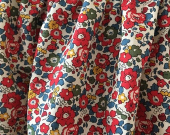 Liberty print skirt size 3-4 floral print in red, green, blue and yellow