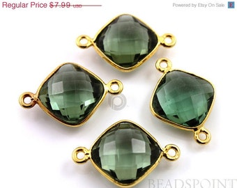 SALE Green Amethyst, Bezel Cushion Shape Gemstone Component, Gold Vermeil ,  13mm, 1 Piece, (BZC3025)