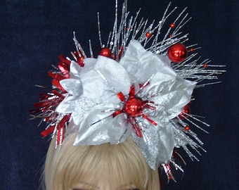 Headdress Headpiece Headband Glittery Shimmery Silver Poinsettias with Red Balls Christmas Wedding New Year's Holiday Party Costume Ornament