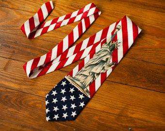 Vintage 90s American Flag Statue of Liberty Mens Necktie - Indian Head