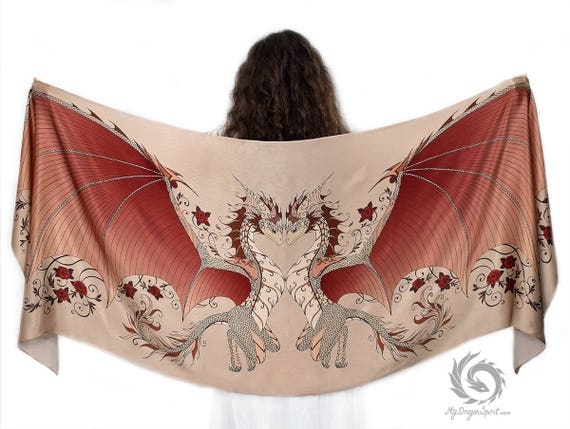 Brown Love Dragons Scarf