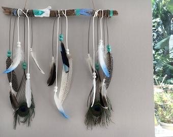 Turquoise Seas - Bohemian Feather Dreamcatcher (turquoise/blue/silver/white)