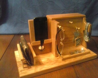 Cell Phone Docking Station, Gift for Him, Secret Compartment, Mens Organizer 5 color options to choose from.