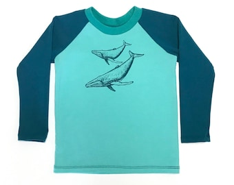 Whale longsleeve shirt in teal and seafoam