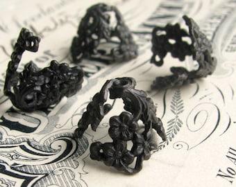 Draping floral bead cap - black antiqued brass (4 bead caps) flower cone shape, large bead cap, aged dark patina, lead nickel free BCG010