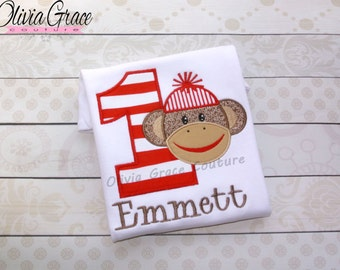 Sock Monkey Birthday Shirt, Embroidered Applique Bodysuit or Shirt for boys or girls, 1st birthday, 2nd birthday, any number