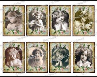8 Vintage Grunge Roses Victorian Praying Little Girls Collage Sheet ATC ACEO / Children Digital Collage Sheet Tags Images—Printable Ephemera