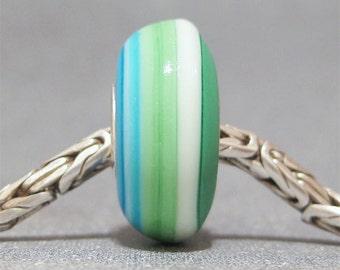 Blue & Green Handmade Stripe Lampwork Glass Bead Euro Bracelet Charm Bali Beach II