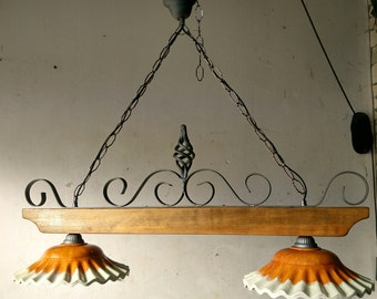 Chandelier in wrought iron and wood mod. Barbell 2 lights E27