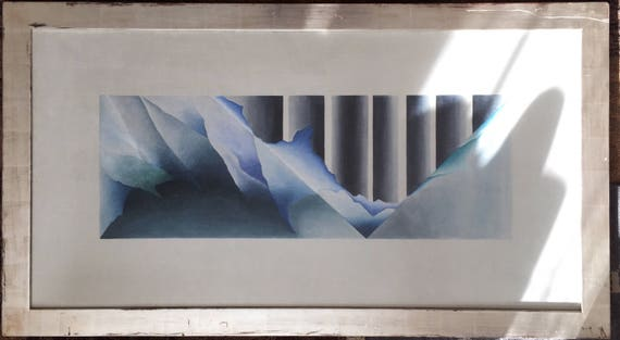 Pinin Manoukian, Armenian/American b.1941 watercolour on canvas in distressed silver frame, 'Weathered relic 2' signed and dated 1988.
