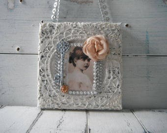 cottage chic petite collage girl college vintage photograph lace collage french country cottage decor key ornament vintage style altered art