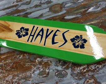 Surfboard name plate, Surfboard sign, surfboard decor, custom surfboard wall art, beach decor, wood surfboard