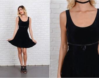 Vintage 90s Black Velvet Mini Dress Sleeveless Bow stretch XS 8600