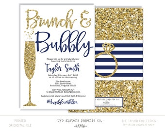 Navy Blue Brunch and Bubbly Bridal Shower Invitation - TAYLOR Collection - Navy and Gold Bridal Shower - Brunch & Bubbly - Printable File