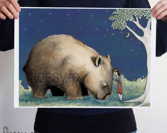 Giant Wombat and Girl, large A2 full colour or B&W art print. Australian animal. Australian gift with original art by flossy-p