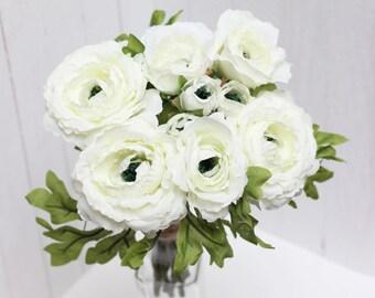 White ranunculus Artificial flower Fake flowers Bouquet Artificial flowers bouquet Ranunculus bouquet  - item 4693