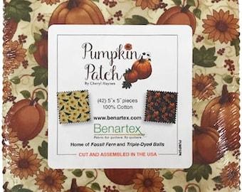 Quilting Fabric / Charm Pack / Benartex / PUMP / Pumpkin Patch / Cheryl Haynes