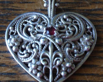 Sterling Heart Pendant with Ruby