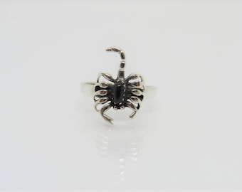 Vintage Sterling Silver Black Onyx Scorpion Ring Size 7