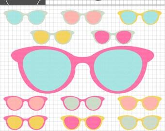 Sunglasses Clipart, Summer Clipart, Retro Clip Art, Digital Clipart, Beach Clipart, Pool Party Graphics, Commercial Use, Instan